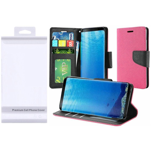 Insten Book-Style Leather Fabric Case w/stand/card slot For Samsung Galaxy S8, Hot Pink