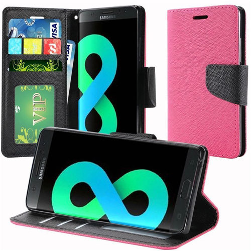 Insten Leather Fabric Case Lanyard w/stand/card holder For Samsung Galaxy S8 Plus, Hot Pink