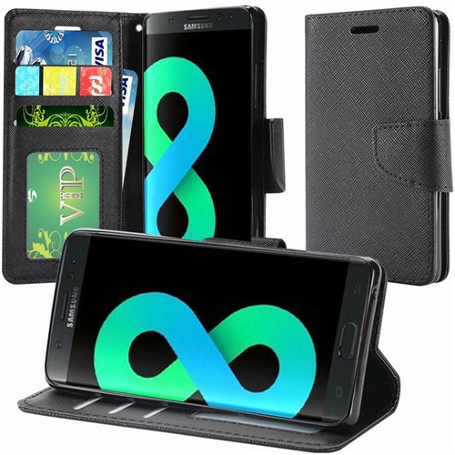 Insten Book-Style Leather Fabric Case Lanyard w/stand/card holder For Samsung Galaxy S8 Plus, Black