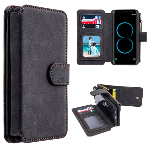 Insten Magnetic Book-Style Leather Fabric Case w/card slot For Samsung Galaxy S8 Plus, Black