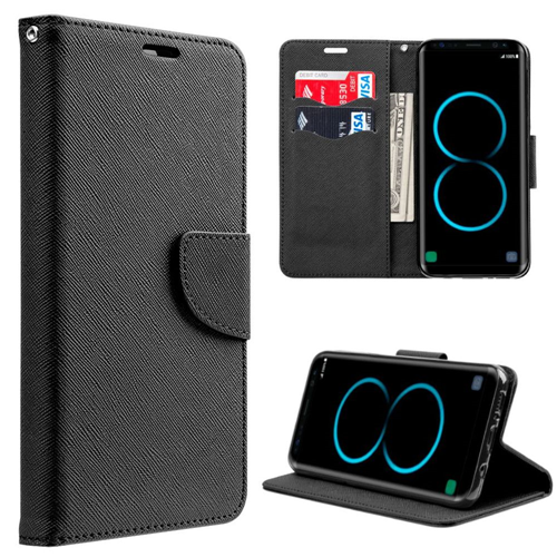 Insten Flip Leather Fabric Cover Case w/stand/card holder For Samsung Galaxy S8 Plus, Black