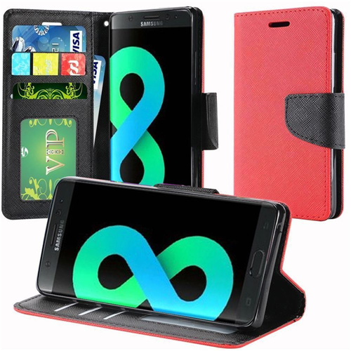 Insten Flip Leather Fabric Case Lanyard w/stand/card holder For Samsung Galaxy S8 Plus, Red