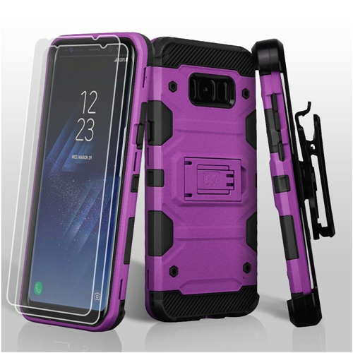 Insten Storm Tank Hard Hybrid TPU Case w/stand/Holster For Samsung Galaxy S8 Plus, Purple/Black