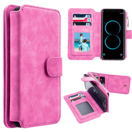 Insten Magnetic Flip Leather Fabric Case w/card holder For Samsung Galaxy S8 Plus, Hot Pink