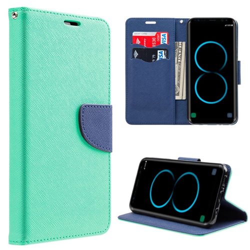 Insten Book-Style Leather Fabric Case w/stand/card holder For Samsung Galaxy S8 Plus, Teal/Blue