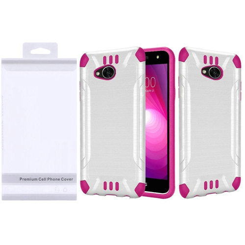 Insten Slim Armor Hard Brushed TPU Case For LG Fiesta LTE/K10 Power/X Charge, White/Hot Pink