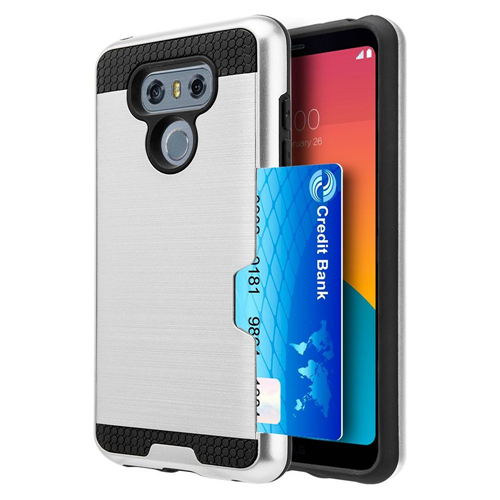 Insten Card To Go Hard Hybrid Brushed TPU Cover Case w/card holder For LG G6, Silver