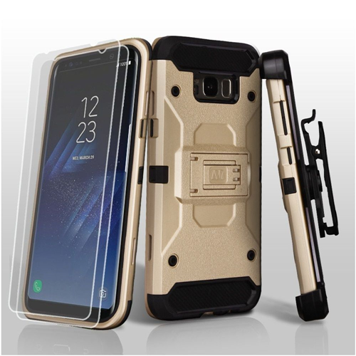Insten Hard Hybrid Plastic TPU Case w/stand/Holster/Bundled For Samsung Galaxy S8, Gold/Black
