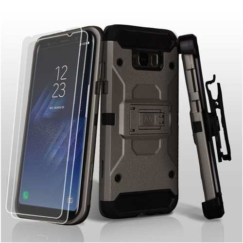 Insten Hard Dual Layer TPU Case w/stand/Holster/Bundled For Samsung Galaxy S8 Plus, Gray/Black
