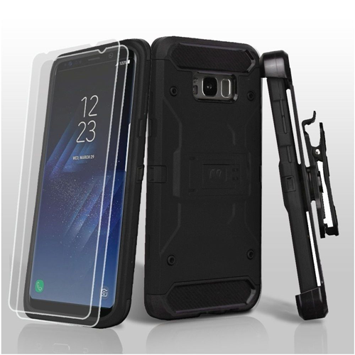 Insten Hard Hybrid Plastic TPU Case w/stand/Holster/Bundled For Samsung Galaxy S8, Black