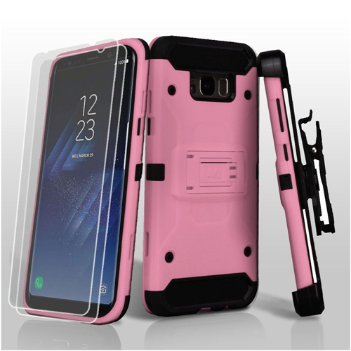 Insten Hard Dual Layer TPU Cover Case w/stand/Holster/Bundled For Samsung Galaxy S8 Plus, Pink/Black