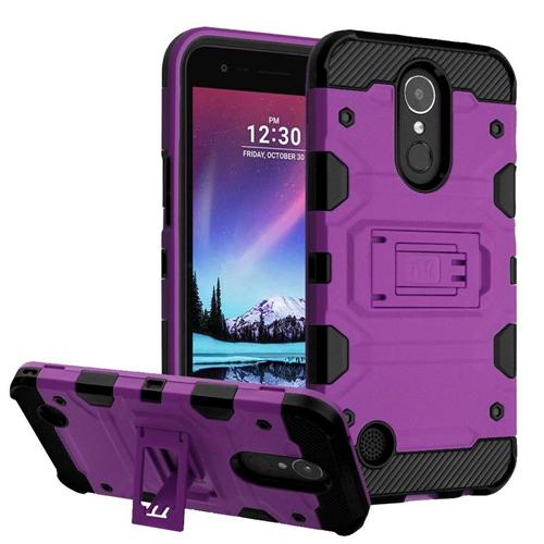 Insten Storm Tank Hard TPU Case w/stand For LG Harmony/K10 (2017)/K20 Plus/K20 V, Purple/Black