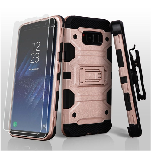 Insten Storm Tank Hard Hybrid TPU Case w/stand/Holster For Samsung Galaxy S8 Plus, Rose Gold/Black