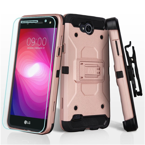 Insten Hard Dual Layer Plastic TPU Case w/stand/Holster/Bundled For LG X Power 2, Rose Gold/Black