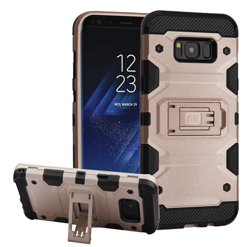 Insten Storm Tank Hard Hybrid Plastic TPU Case w/stand For Samsung Galaxy S8 Plus, Rose Gold/Black