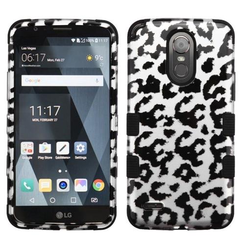 Insten Leopard Hard Hybrid Plastic TPU Case For LG Stylo 3, Silver/Black