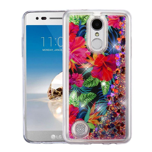 Insten Quicksand Glitter Electric Hibiscus Hard Case For LG K4 (2017)/K8 (2017)/LV3, Multi-Color