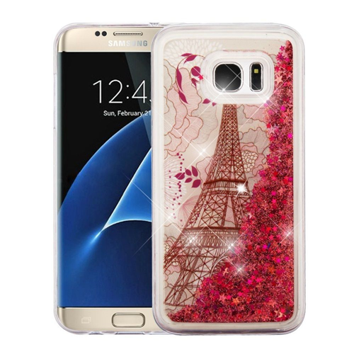 Insten Quicksand Glitter Eiffel Tower Hard Dual Layer TPU Case For Samsung Galaxy S7 Edge, Rose Gold