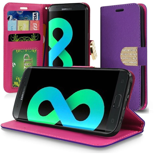 Insten Book-Style Leather Fabric Case Lanyard w/stand/card slot For Samsung Galaxy S8 Plus, Purple