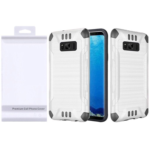 Insten Slim Armor Hard Hybrid Brushed TPU Case For Samsung Galaxy S8, White/Black