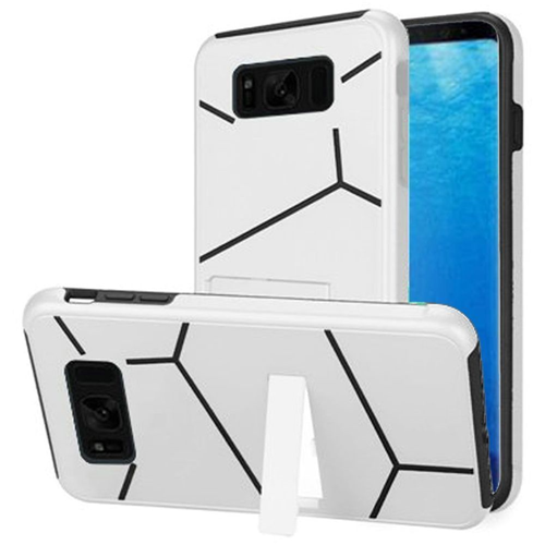 Insten Hard Dual Layer Plastic TPU Cover Case w/stand For Samsung Galaxy S8, White/Black
