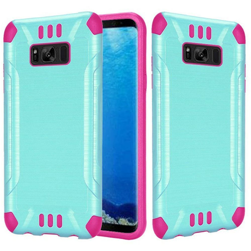 Insten Slim Armor Hard Hybrid Brushed TPU Case For Samsung Galaxy S8, Teal/Hot Pink