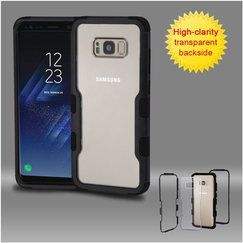 Insten Hard Dual Layer Transparent Plastic TPU Case For Samsung Galaxy S8 Plus, Black