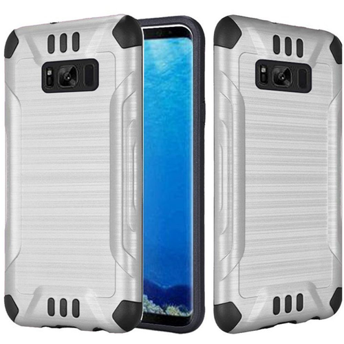 Insten Slim Armor Hard Dual Layer Brushed TPU Cover Case For Samsung Galaxy S8, Silver/Black