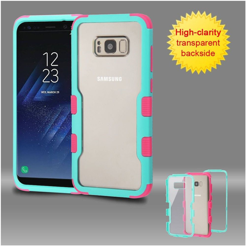 Insten Hard Dual Layer Transparent Plastic TPU Case For Samsung Galaxy S8 Plus, Teal/Pink
