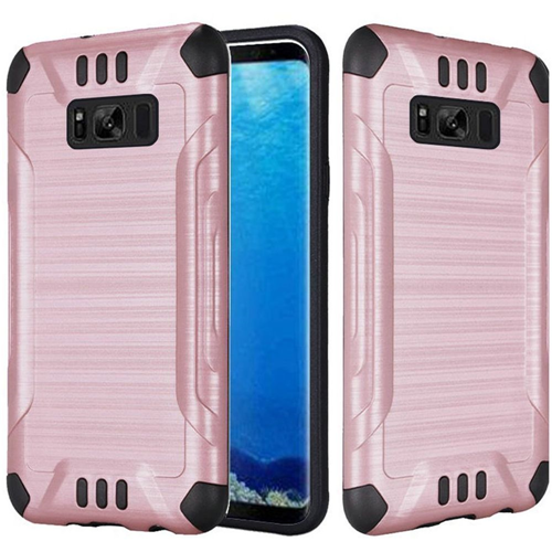 Insten Slim Armor Hard Dual Layer Brushed TPU Cover Case For Samsung Galaxy S8, Rose Gold/Black