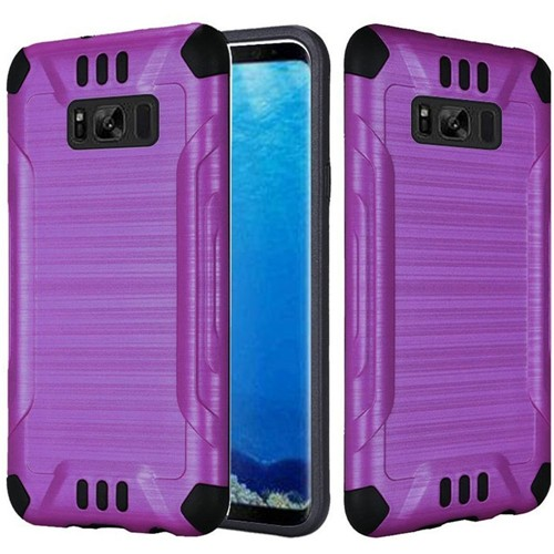Insten Slim Armor Hard Hybrid Brushed TPU Cover Case For Samsung Galaxy S8, Purple/Black