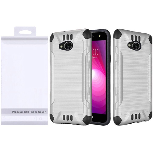 Insten Slim Armor Hybrid Brushed TPU Case For LG Fiesta LTE/K10 Power/X Charge, Silver/Black