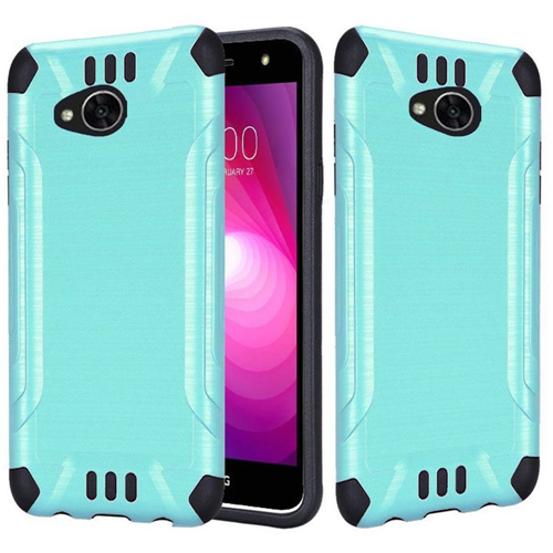 Insten Slim Armor Hard Brushed TPU Case For LG Fiesta LTE/K10 Power/X Charge/X Power 2, Teal/Black