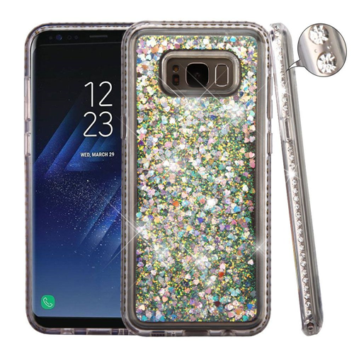 Insten Quicksand Hard Dual Layer Diamante Case For Samsung Galaxy S8 Plus, Silver