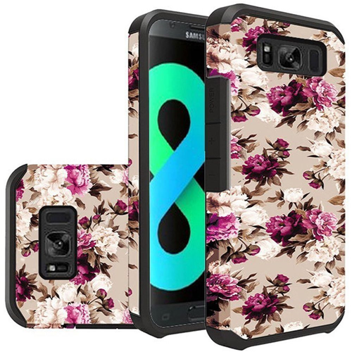 Insten Roses Hard Dual Layer Plastic TPU Cover Case For Samsung Galaxy S8 Plus, Multi-Color