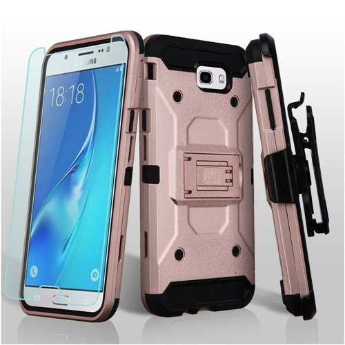 Insten Hard Hybrid Case w/stand For Samsung Galaxy J7 (2017)/J7 Prime/J7 Sky Pro, Rose Gold/Black