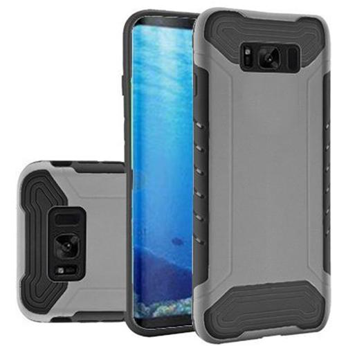 Insten Slim Armor Hard Dual Layer Plastic TPU Case For Samsung Galaxy S8, Silver/Black