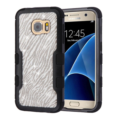 Insten Glitter Hard Dual Layer TPU Case For Samsung Galaxy S7, Silver/Black