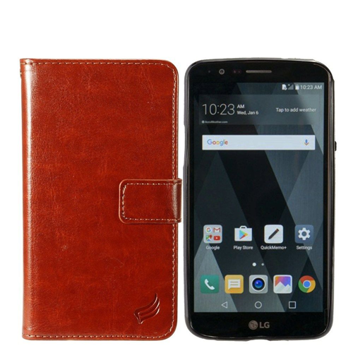 Insten Magnetic Book-Style Leather Fabric Case w/card holder For LG Stylo 3/Stylo 3 Plus, Brown
