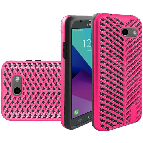 Insten ZigZag Hard Case For Samsung Galaxy Amp Prime 2/Express Prime 2/J3 (2017), Hot Pink