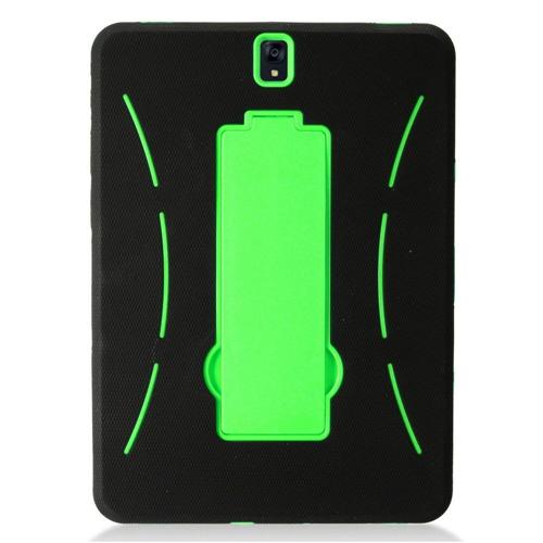"Insten Symbiosis Soft Hybrid Rubber Hard Case w/stand For Samsung Galaxy Tab S3 9.7"", Black/Green"