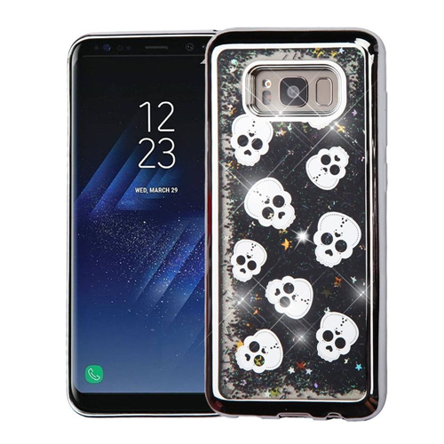 Insten Quicksand Glitter Skull Hard Dual Layer Cover Case For Samsung Galaxy S8 Plus, Black/Silver