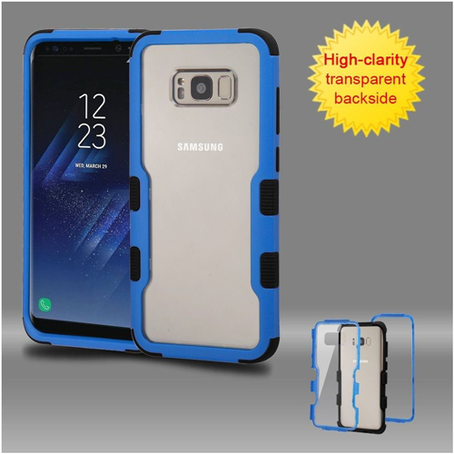 Insten Hard Dual Layer Transparent Plastic TPU Cover Case For Samsung Galaxy S8 Plus, Blue/Black