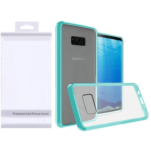 Insten Hard Plastic TPU Cover Case For Samsung Galaxy S8, Clear/Teal