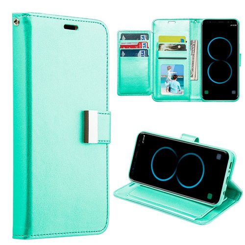 Insten Book-Style Leather Fabric Case w/stand/card slot/Photo Display For Samsung Galaxy S8, Teal