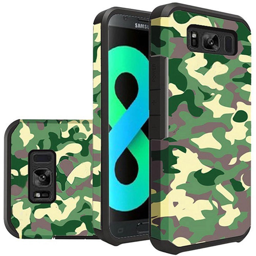 Insten Camouflage Hard Dual Layer Plastic TPU Cover Case For Samsung Galaxy S8 Plus, Green/Black