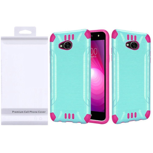 Insten Slim Armor Hybrid Brushed TPU Case For LG Fiesta LTE/K10 Power/X Charge, Teal/Hot Pink