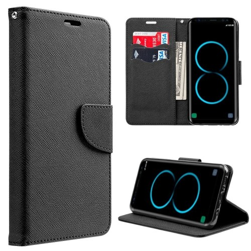 Insten Book-Style Leather Fabric Case w/stand/card slot For Samsung Galaxy S8, Black