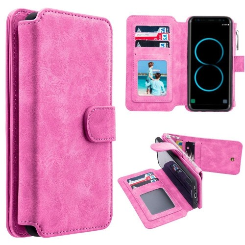 Insten Magnetic Flip Leather Fabric Case w/card slot/Photo Display For Samsung Galaxy S8, Hot Pink
