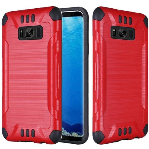 Insten Slim Armor Hard Dual Layer Brushed TPU Case For Samsung Galaxy S8, Red/Black